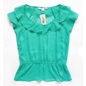 Semi Sheer Ruffle Elastic Waist Aqua Blouse/Top S